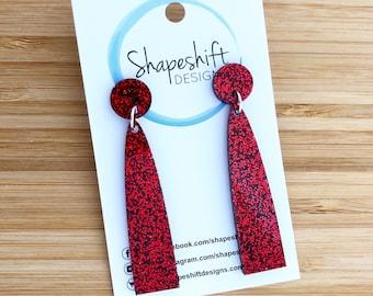 Red Glitter Acrylic Earrings - Long Arch Dangles