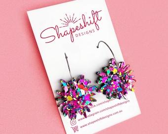 Flower Burst Hoop Earrings - Rainbow Glitter