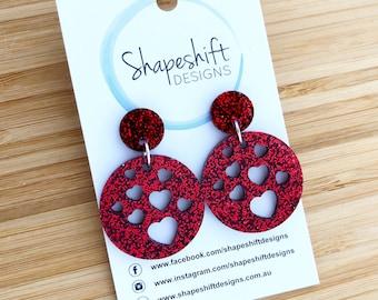 Heart Dangle Earrings - Laser Cut Red Glitter Acrylic