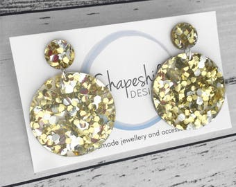 Chunky Silver & Gold Glitter Acrylic Earrings - Circle Drop Earrings