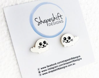 Baby Harp Seal Stud Earrings - Pearlescent Creamy White - Laser Cut Acrylic
