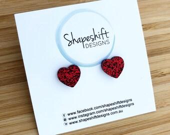 Little Heart Studs - Laser Cut Red Glitter Acrylic