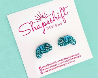 Chameleon Stud Earrings - Turquoise with Blue Stripes - Laser Cut Acrylic