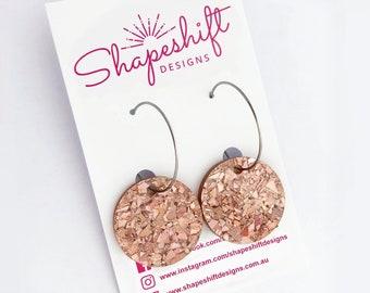 Round Disc Hoop Earrings - Peach Glitter Shards