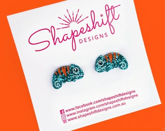 Chameleon Stud Earrings - Turquoise with Orange Stripes (White Mouth and Tail) - Laser Cut Acrylic