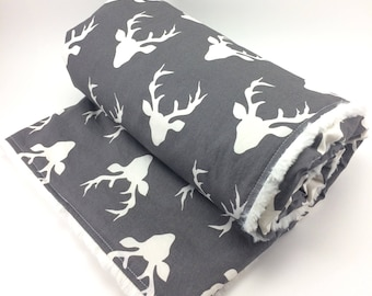 Deer Baby Blanket ~ Minky Buck Blanket ~ Woodland Gray or Navy and White ~ Buck ~ Nursery Bedding ~ Hunting