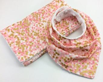 Baby Bandana Bib and Burp Cloth Set ~ Blush Pink Gold and White Polka Dot Sparkle Drool Bib ~ Slouchy Bib ~ Fancy Bib ~Toddler Bib~Minky Bib
