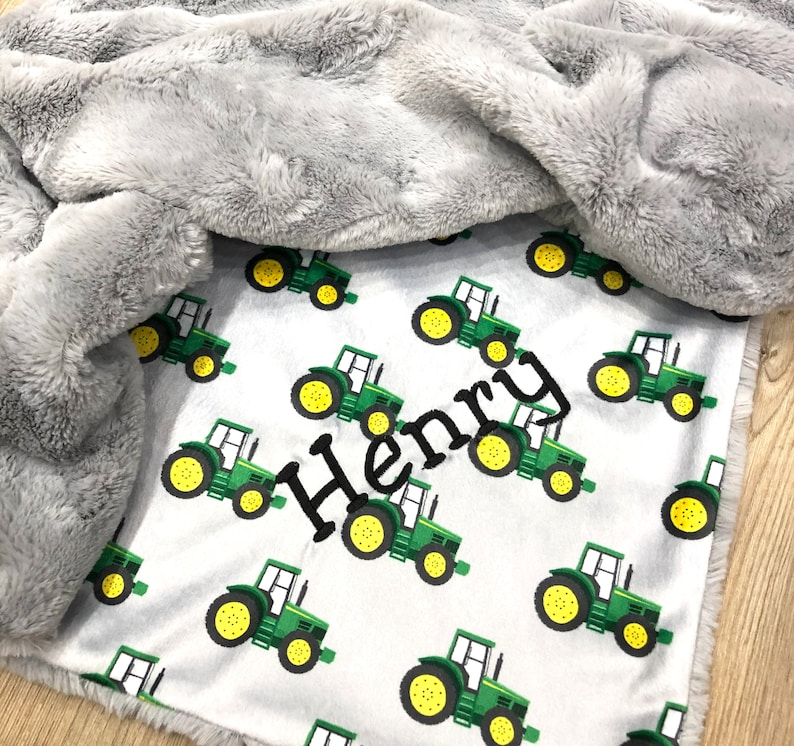 Personalized Tractor Boy Blanket