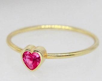b6e6deedb Ruby Heart Ring, Heart Shaped Rings, Custom Engagement Rings, Birthstone  Promise Rings, Promise Rings for Women, Pink Heart Ring, Heart Ring