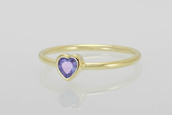 Amethyst Heart Ring Heart Shaped Rings Cz Engagement Rings Etsy