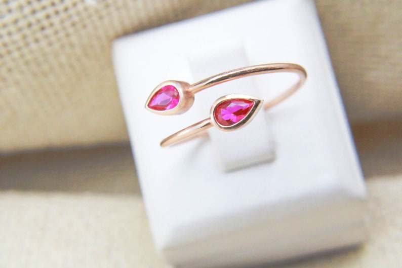 Two Stone Ring Pear Shaped Ring Ring Personalised Rings Simple Gold Ring Rose Gold Teardrop Ring Simple Rings for Women Teardrop Ring