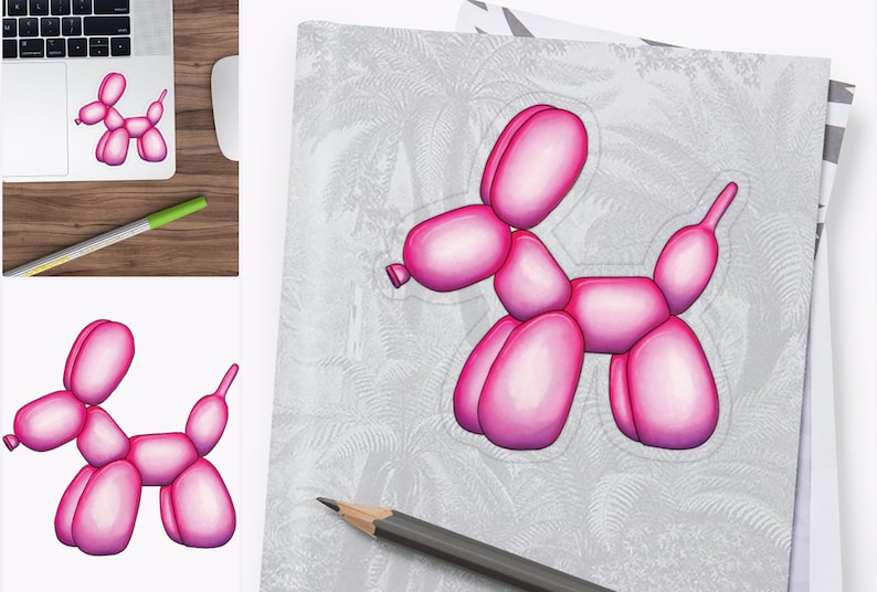 Hot Pink Balloon Dog Vinyl Sticker Large and Extra Large Matte and Transparent Medium Glossy Available in Small