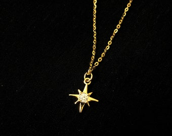 CATCHY 14k Gold Over Sterling Silver Diamond Accent Starburst Pendant Necklace