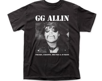 68ee84d6513 GG Allin Freaks... Men s Traditional Fit 18 1 Cotton Tee (GG03) Black