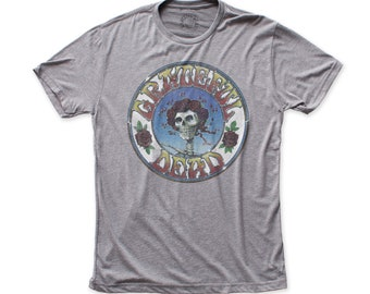 b6d1fa9881cd Grateful Dead Skull and Roses Distressed Men s 30 1 Fitted Tri-Blend Tee  (GD01) Heather Grey