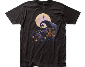 b23fe84f Nightmare Before Christmas Poster Soft Fitted 30/1 Cotton Tee (NBC01) Black
