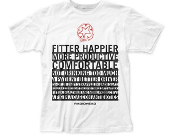 f372c1ad3 Radiohead Fitter Happier Soft Fitted 30/1 Cotton Tee (RDH03) White