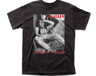 GG Allin You Give Love A Bad Name Men's Traditional Fit 18/1 Cotton Tee (GG01) Black