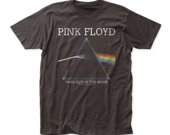 Pink Floyd Dark Side of the Moon Black Distressed Fitted 30/1 Cotton Tee T-Shirt - (PF18) Black