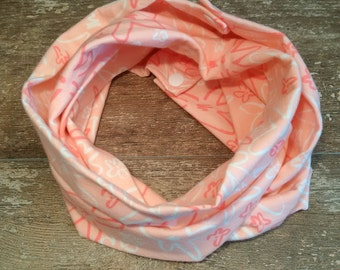 Infinity scarf, neck warmer, stretchy, spring, fall, flowers, snaps, baby, child, girl, adult, pink, jersye, cotton