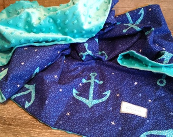 blanket, bedding, coverlet, crib, crib, baby, child, blanket, minky, cotton, anchors, boats, gift, small bouquet