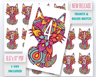 Fox Mandala Live Number Cards(1-999) Normal + Mirrored Numbers Included | Live Sale Numbers, Number Tags, Facebook live numbers