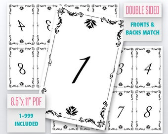 Vintage Ornament Live Number Cards(1-999) Normal + Mirrored Numbers Included | Live Sale Numbers, Number Tags, Facebook live numbers