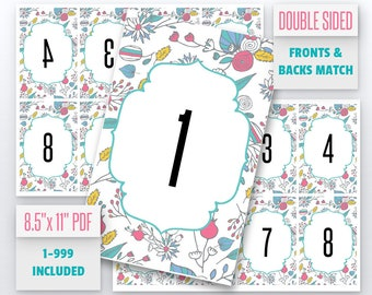 Floral Live Number Cards(1-999) Normal + Mirrored Numbers Included | Live Sale Numbers, Number Tags, Facebook live numbers