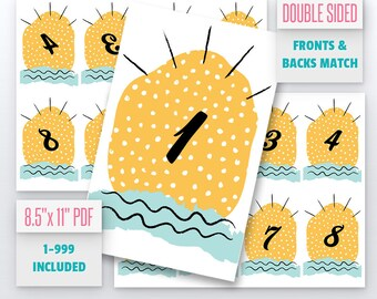 Summer Cactus Live Number Cards(1-999) Normal + Mirrored Numbers Included | Live Sale Numbers, Number Tags, Facebook live numbers