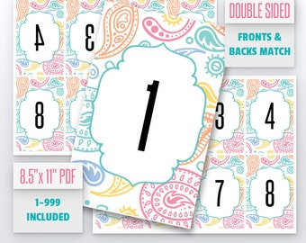 Paisley Live Number Cards(1-999) Normal + Mirrored Numbers Included | Live Sale Numbers, Number Tags, Facebook live numbers
