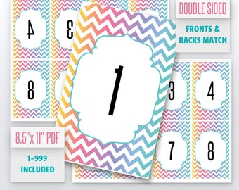 Chevron Live Number Cards(1-999) Normal + Mirrored Numbers Included | Live Sale Numbers, Number Tags, Facebook live numbers