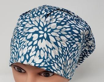 cb2bbdfe72a7ba Teal Metallic Mum euro scrub cap, euro scrub hat, chemo cap, vet cap, surgical  cap, womens scrub cap, chef hat, alopecia, OR caps, cotton