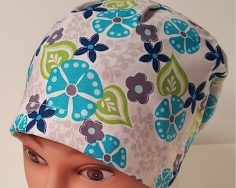 Teal and Gray Floral euro scrub cap 93bc9d7f048