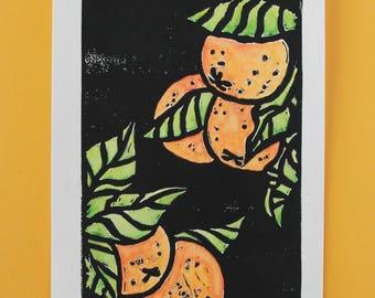 Citruses Linocut Print