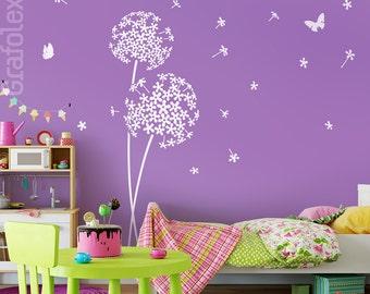 Wall stickers nursery flower and butterflies wall stickers wall stickers nursery flower dandelion wall decal vinyl decor w706a
