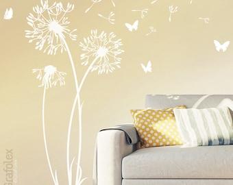 Wall sticker Dandelion Wall Decal vinyl decor w302s Butterfly Flower