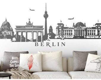 Berlin skyline panorama wall decals wall sticker wall sticker 4 sizes decal sticker stickers wall art motif W115b