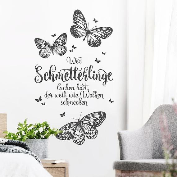 Wandtattoo Spruch Zitate Wer Schmetterlinge Lachen Hort Der Etsy