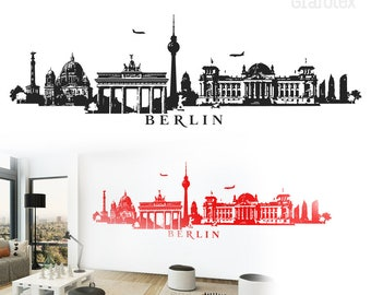 Berlin skyline panorama wall decals wall sticker wall sticker 4 sizes of wall decoration decal sticker wall art motif W115