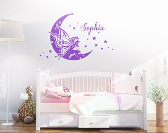 Chiffon fairy on the moon with your name children name baby name wall sticker wall decal sticker girl name nursery decoration wk01