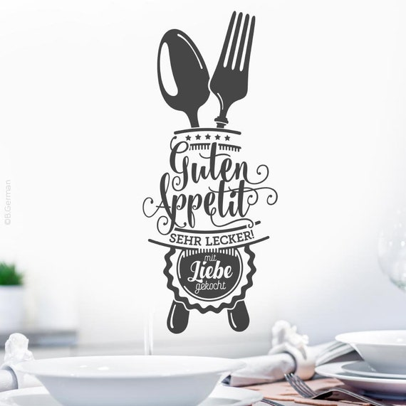 Wandtattoo Guten Appetit für Küche Esszimmer Cafe Wandaufkleber Wandsticker  Wandbild Wand Deko Sticker Aufkleber w503