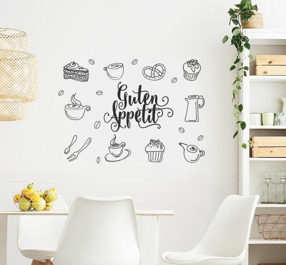 Guten Appetit Wandtattoo Wandsticker für Esszimmer Küche Cafe Imbiss Wand  Deko Sticker Tattoo Aufkleber w501b