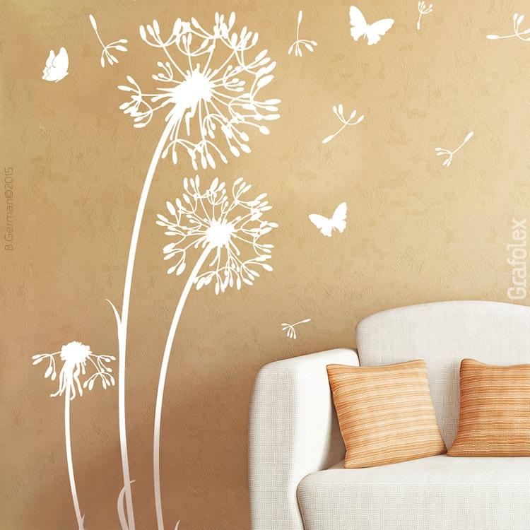 Wandtattoo Pusteblume Schmetterlinge Löwenzahn Wandsticker