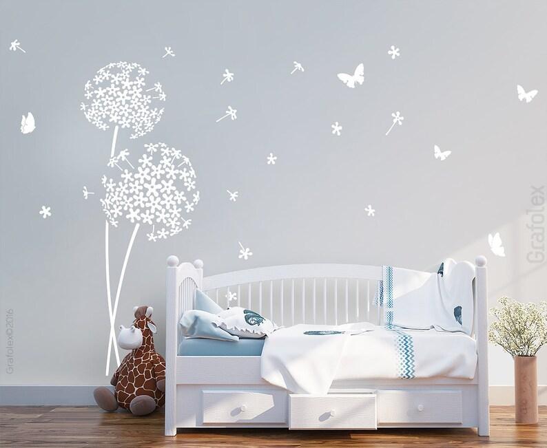 Wandtattoo Kinderzimmer Pusteblume und Schmetterlinge | Etsy