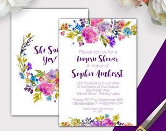 Lingerie shower invitation etsy garden lingerie shower invitation printable editable pdf purple lingerie shower invites lingerie bridal shower invitation download k003 filmwisefo