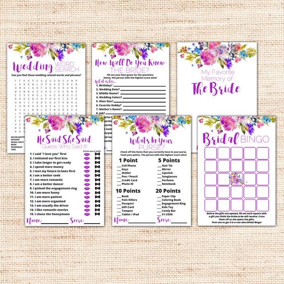 a9f82a842196 Garden Bridal Shower Games Package - Instant Download - Purple Printable Bridal  Shower Kit - Floral Wedding Shower Games - Party Games K003