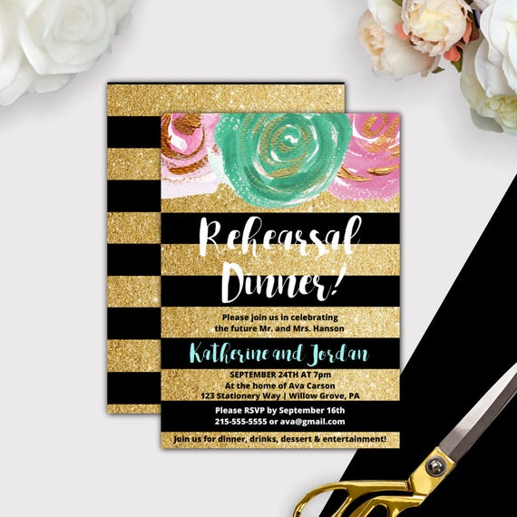 image relating to Printable Rehearsal Dinner Invitations identified as Gold and Black Printable Rehearsal Evening meal Invitation Quick