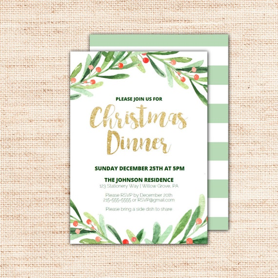 Holly Wreath Christmas Dinner Invitations Template Printable Holiday Invites With Gold Glitter Text DIY Instant Download Editable PDF X002