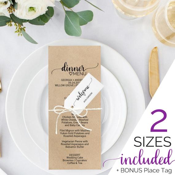 Printable Wedding Menu Template Rustic Dinner