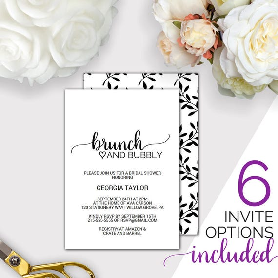 Brunch and bubbly bridal shower invitation template printable etsy image 0 filmwisefo